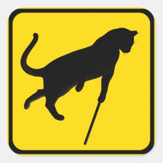 ¡El cruzar ciego de los gatos! Pegatina Cuadrada