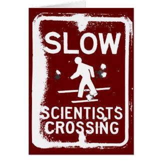 El cruzar de los científicos tarjetas