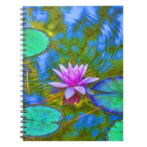 El cuaderno de lirio del cojín de Lotus de Practio