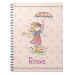 El cuaderno lindo para la niña añade su nombre