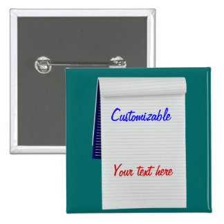 El cuaderno observa personalizable pin cuadrada 5 cm