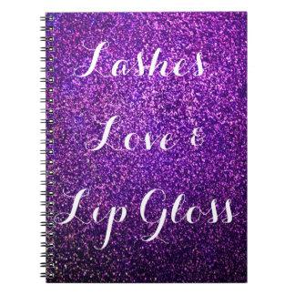 el cuaderno púrpura del brillo azota lipgloss del