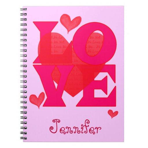 El cuaderno rosado lindo del diseño del amor, pers