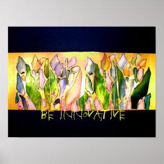 El cuadrado de cristal del tulipán sea poster