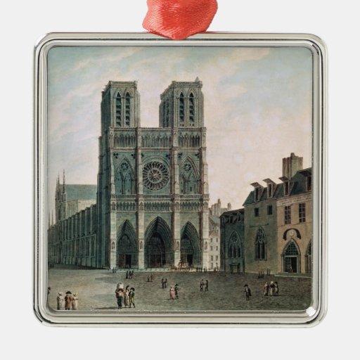 El cuadrado delante de Notre-Dame Adorno Cuadrado Plateado