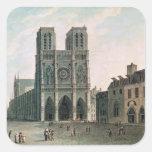 El cuadrado delante de Notre-Dame Pegatina Cuadrada