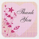 El cuadrado le agradece sellar |Pink y la mariposa Pegatina Cuadrada