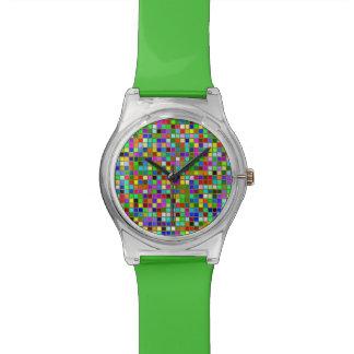 El cuadrado macizo colorido del verde verde oliva relojes de mano