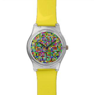 El cuadrado macizo colorido del verde verde oliva relojes de pulsera