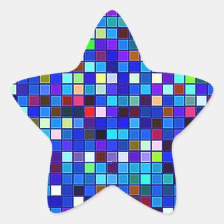 El cuadrado multicolor azul vivo teja el modelo pegatina en forma de estrella