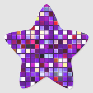 El cuadrado multicolor púrpura vivo teja el modelo pegatina en forma de estrella