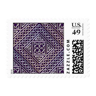 El cuadrado púrpura de plata forma el modelo de sellos