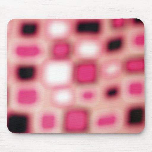 El cuadrado rosado borroso abstracto cubica arte alfombrilla de raton