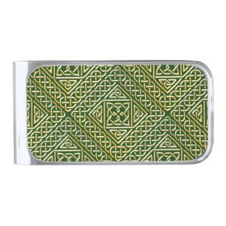 El cuadrado verde del oro forma el modelo de clip para billetes plateado