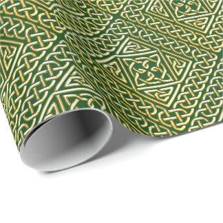 El cuadrado verde del oro forma el modelo de papel de regalo