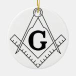 El cuadrado y el símbolo del Freemasonry de los Adorno Redondo De Cerámica