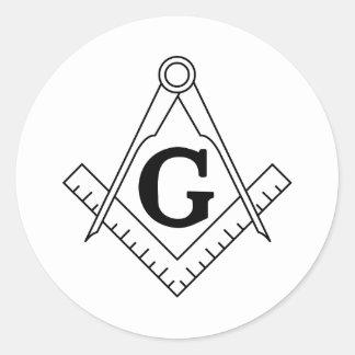 El cuadrado y el símbolo del Freemasonry de los Pegatinas Redondas