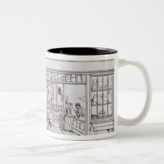El cuadrante, la calle regente y el carril de oro taza de café de dos colores