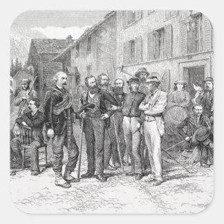 """El cuarto de club de Zermatt en 1864, """"de la Pegatina Cuadrada"""