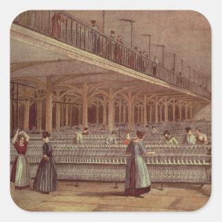 El cuarto de duplicación, decano Mills, 1851 Calcomania Cuadrada Personalizada