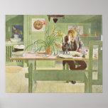 El cuarto de estudio, 1908 de Carl Larsson Póster