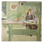 """El cuarto de estudio, pub. en """"Lasst Licht Hinin""""  Azulejo Cuadrado Grande"""