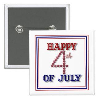 El cuarto de julio protagoniza el botón patriótico pin cuadrado