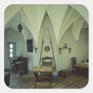 El cuarto de la corte pegatina cuadrada