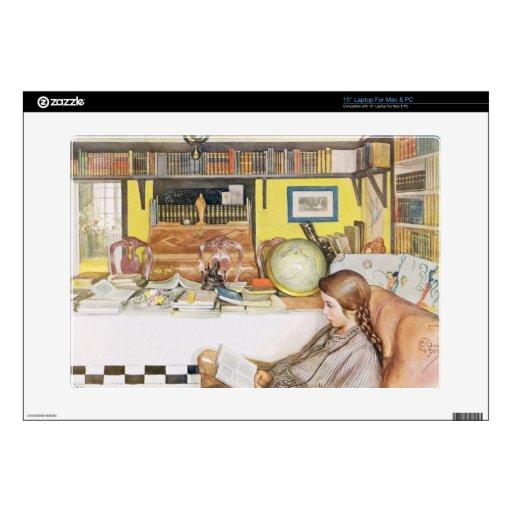 """El cuarto de lectura, pub. en """"Lasst Licht Hinin""""  Calcomanías Para 38,1cm Portátiles"""