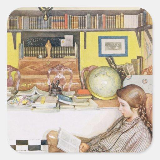 """El cuarto de lectura, pub. en """"Lasst Licht Hinin"""" Pegatina Cuadradas Personalizada"""