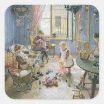 El cuarto de niños, 1889 pegatina cuadrada
