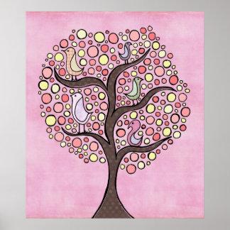 El cuarto de niños del rosa del árbol del caramelo poster