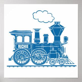 El cuarto de niños personalizado tren gráfico azul póster