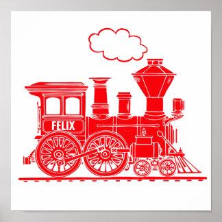 El cuarto de niños personalizado tren gráfico rojo impresiones