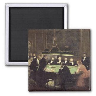 El cuarto del juego en el casino, 1889 imán cuadrado