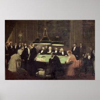 El cuarto del juego en el casino, 1889 póster