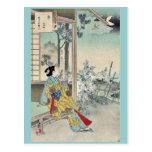 El cuarto mes por Mizuno, Toshikata Ukiyoe Tarjetas Postales