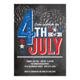 """El cuarto patriótico de los fuegos artificiales invitación 4.5"""" x 6.25"""""""