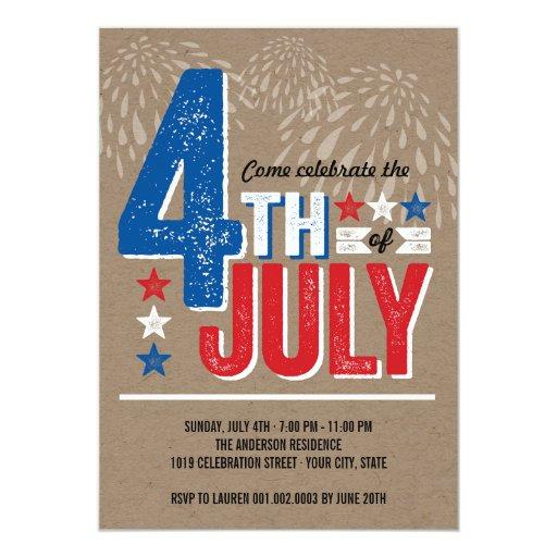 """El cuarto patriótico de los fuegos artificiales invitación 5"""" x 7"""""""