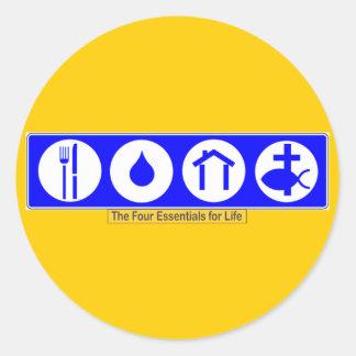 El cuatro esencial para la vida etiqueta redonda