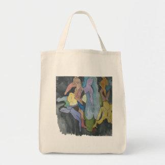 El cubista abstracto figura el tote del bolsa tela para la compra