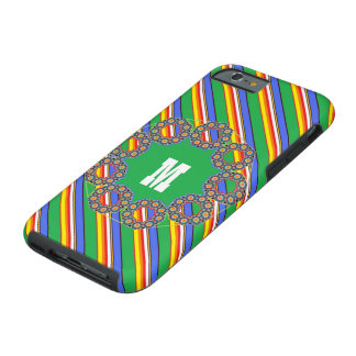 El cubo de la playa colorea con monograma funda de iPhone 6 tough