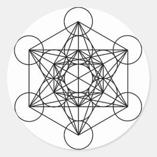 El cubo de Metatron (blanco) Pegatina Redonda