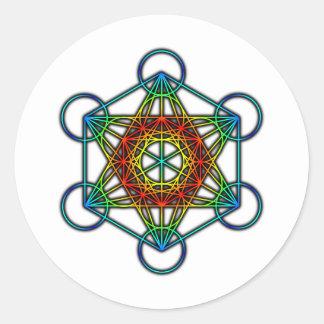 El cubo de Metatron (color 1) Pegatina Redonda