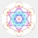 El cubo de Metatron (color 2) Etiquetas Redondas