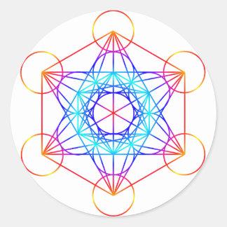 El cubo de Metatron (color 2) Pegatina Redonda