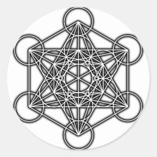 El cubo de Metatron (negro) Pegatina Redonda