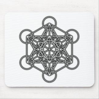 El cubo de Metatron (negro) Tapetes De Ratón