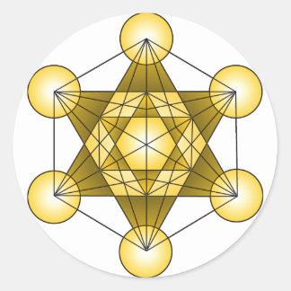 El cubo de Metatron Pegatina Redonda