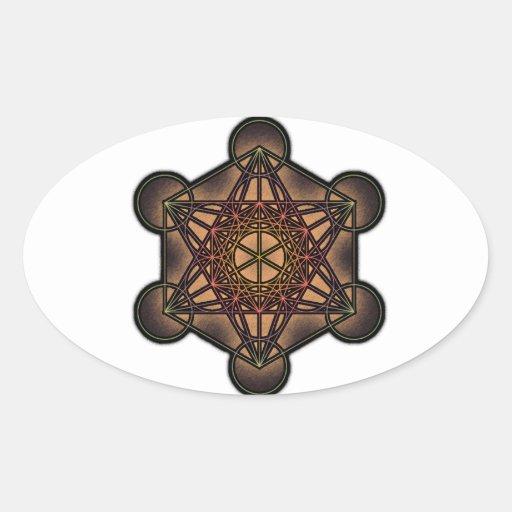 El cubo de Metatron - símbolo sagrado de la Pegatinas De Óval Personalizadas
